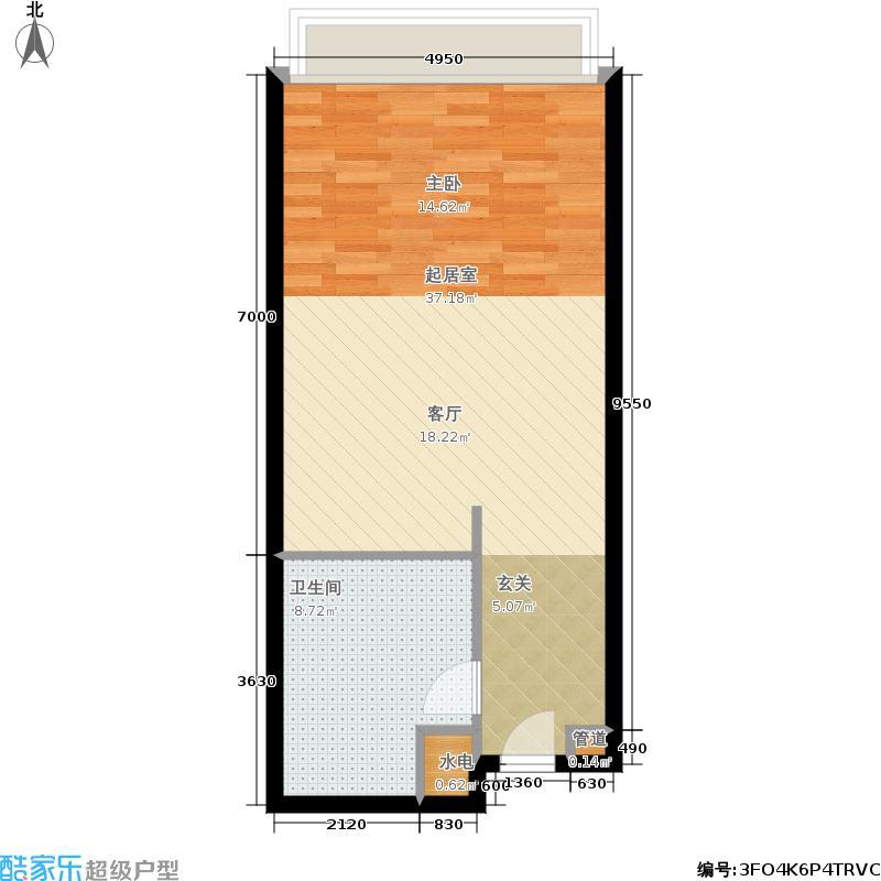 长江1号70.41㎡1号楼公寓B户型1室1厅1卫
