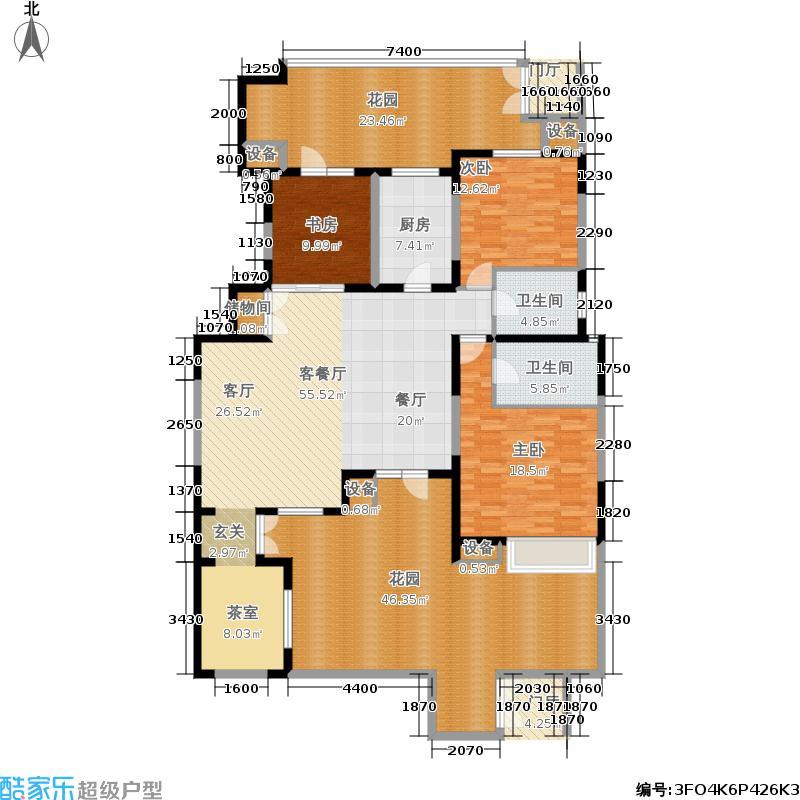 远洋心境155.00㎡洋房1层四室一厅二卫户型4室1厅2卫