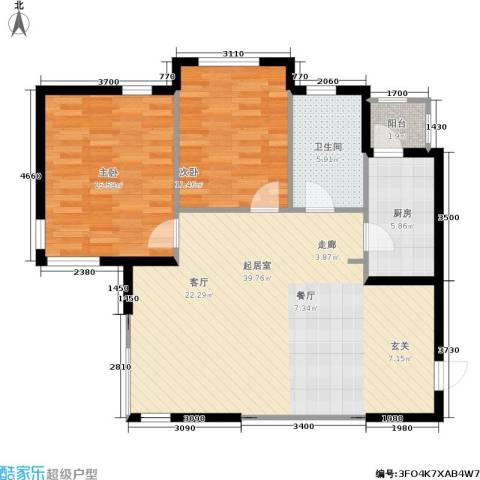 南石源居2室0厅1卫1厨80.47㎡户型图