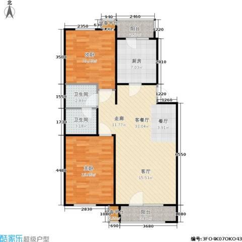万科新榆公馆二期2室1厅2卫1厨102.00㎡户型图
