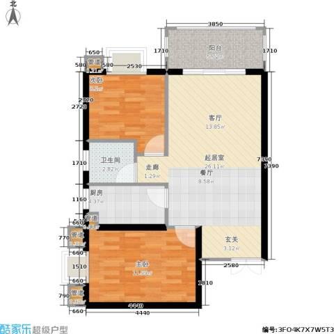 hello前城2室0厅1卫1厨68.00㎡户型图