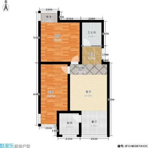 龙江秀水园2室1厅1卫1厨81.00㎡户型图