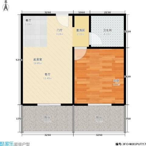 东秀苑1室0厅1卫0厨62.00㎡户型图