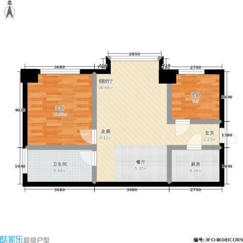 鼎立20082室1厅1卫1厨55.12㎡户型图