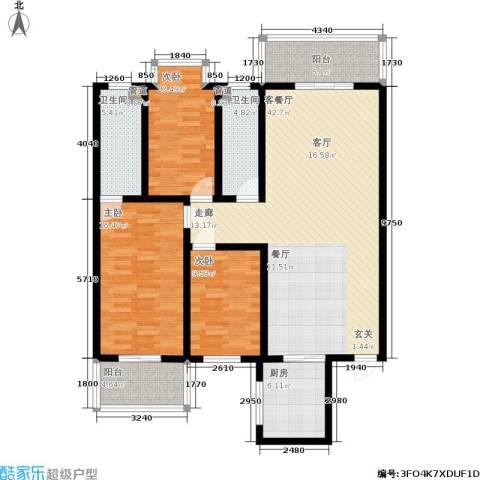 水岸清城3室1厅2卫1厨125.00㎡户型图