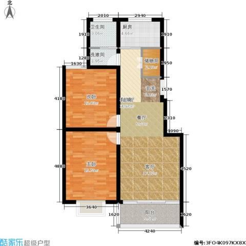 龙江秀水园2室1厅1卫1厨89.00㎡户型图