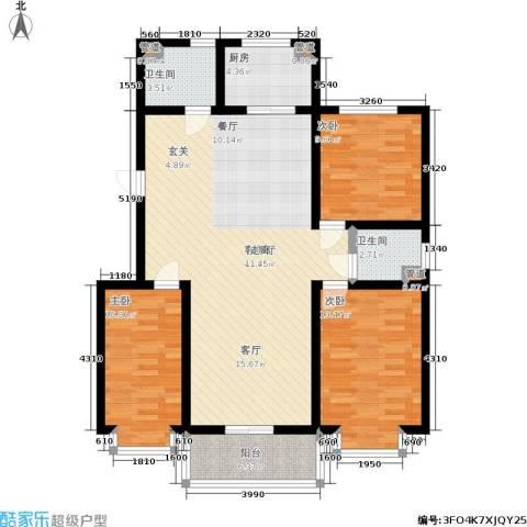 水岸清城3室1厅2卫1厨105.00㎡户型图