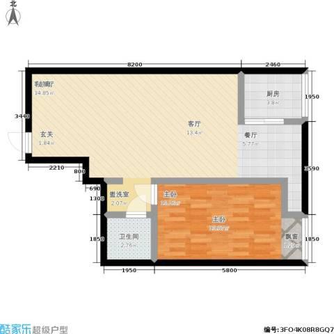 鼎立20081室1厅1卫1厨59.63㎡户型图