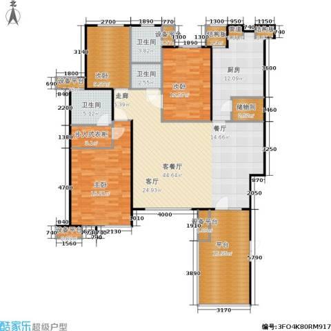 万科新榆公馆二期3室1厅3卫1厨184.00㎡户型图