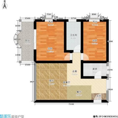 响水苑2室1厅1卫1厨85.00㎡户型图