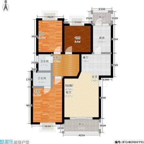中梁山水苑3室1厅2卫1厨131.00㎡户型图