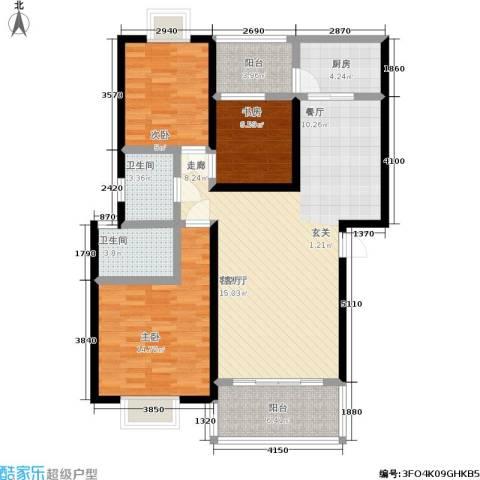 中梁山水苑3室1厅2卫1厨127.00㎡户型图