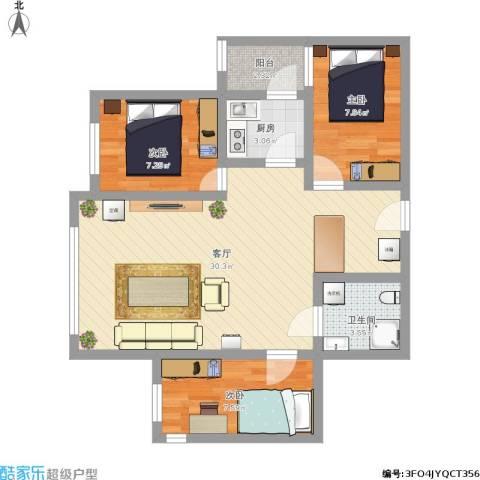 航天社区3室1厅1卫1厨90.00㎡户型图