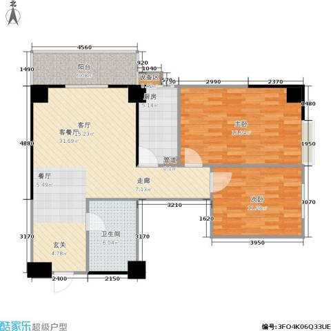吉祥茗居2室1厅1卫1厨103.00㎡户型图