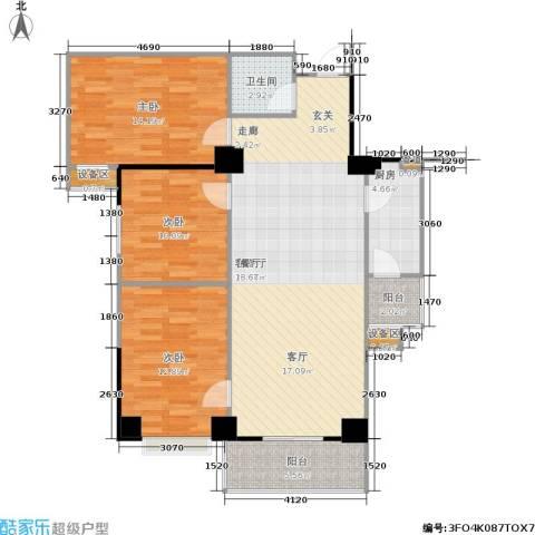 吉祥茗居3室1厅1卫1厨128.00㎡户型图