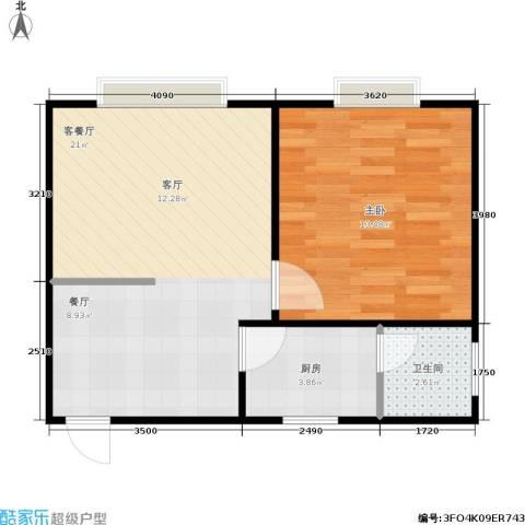 海德旭园1室1厅1卫1厨55.00㎡户型图