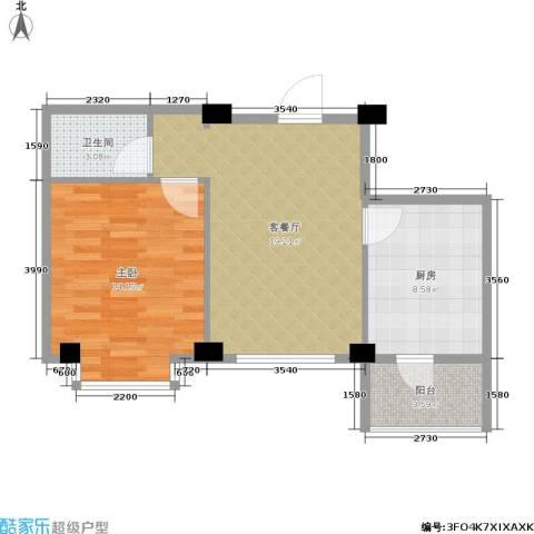 朗悦华园二期1室1厅1卫1厨54.00㎡户型图