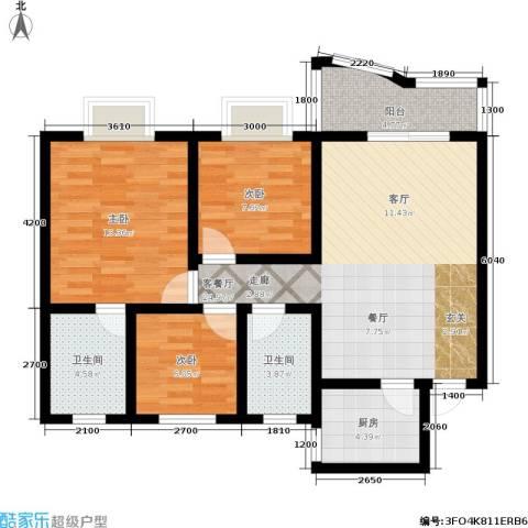 海德福苑3室1厅2卫1厨90.00㎡户型图