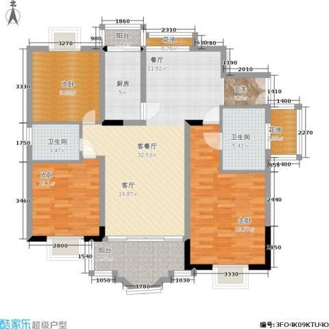 碧泉花园3室1厅2卫1厨97.00㎡户型图