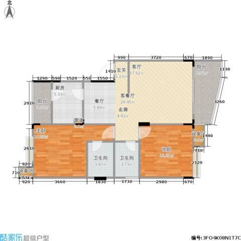 汇厦馨庭花园2室1厅2卫1厨109.00㎡户型图