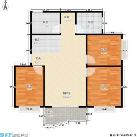 海德旭园3室1厅1卫1厨94.00㎡户型图