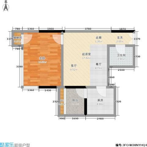 邦兴北都1室0厅1卫1厨50.00㎡户型图