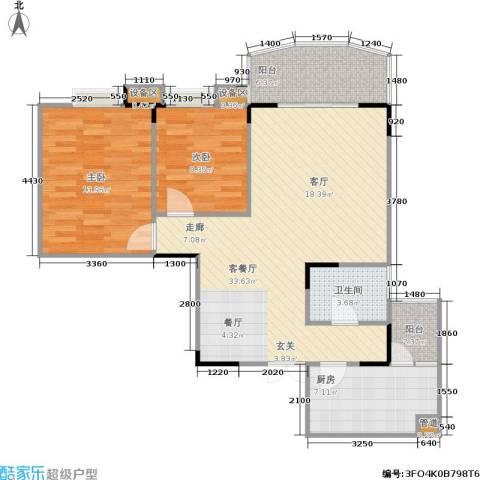 龙德景苑2室1厅1卫1厨104.00㎡户型图