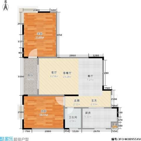 龙德景苑2室1厅1卫1厨77.00㎡户型图
