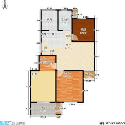 西城印象3室1厅1卫1厨96.00㎡户型图