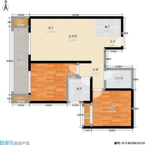 江枫雅居2室0厅1卫1厨99.00㎡户型图