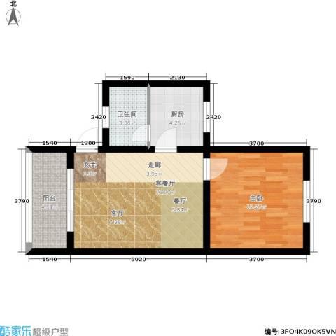 金碧园1室1厅1卫1厨60.00㎡户型图