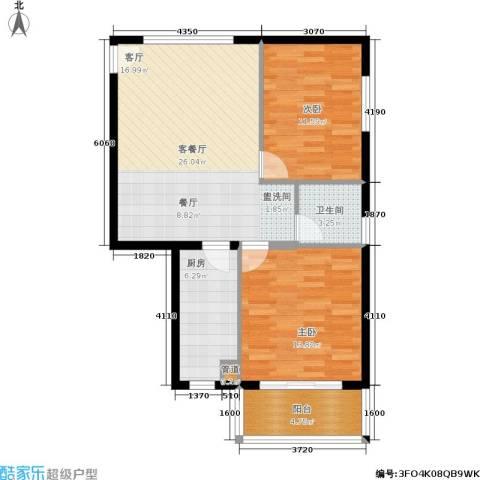 都市心海岸2室1厅1卫1厨68.00㎡户型图