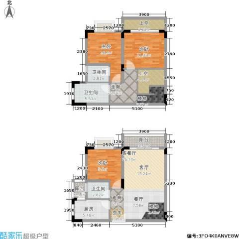 唐庄3室1厅3卫1厨95.71㎡户型图