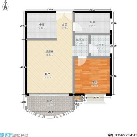 南国佳园1室0厅1卫1厨64.00㎡户型图