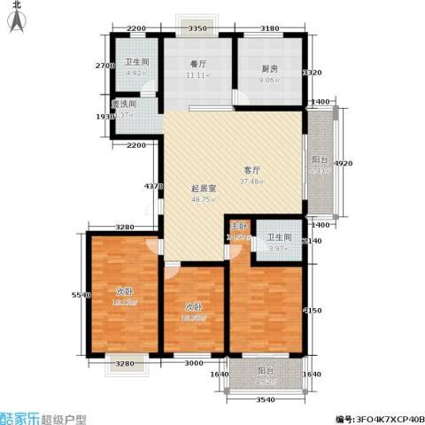 槐苑欣城3室0厅2卫1厨136.00㎡户型图