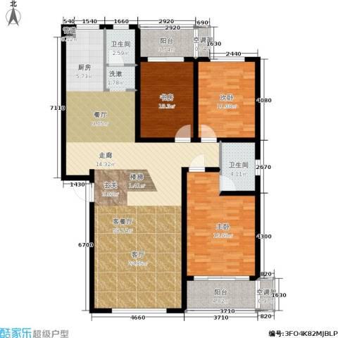 竹满人家3室1厅2卫0厨125.00㎡户型图