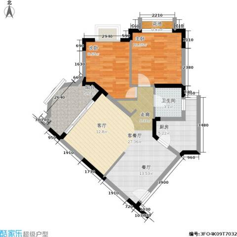 碧泉花园2室1厅1卫1厨70.00㎡户型图