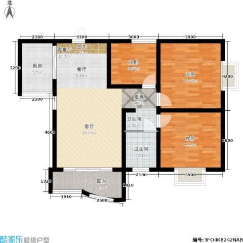 海德福苑3室1厅1卫1厨90.00㎡户型图