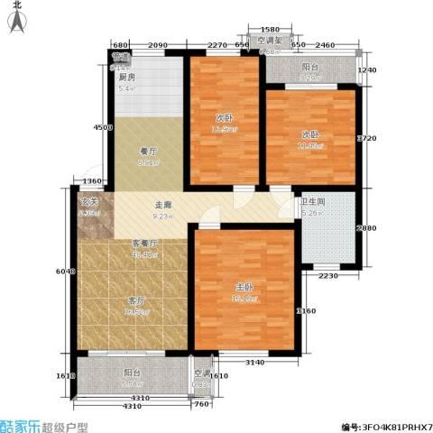 竹满人家3室1厅1卫0厨125.00㎡户型图