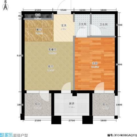 中央华府1室1厅1卫1厨54.00㎡户型图