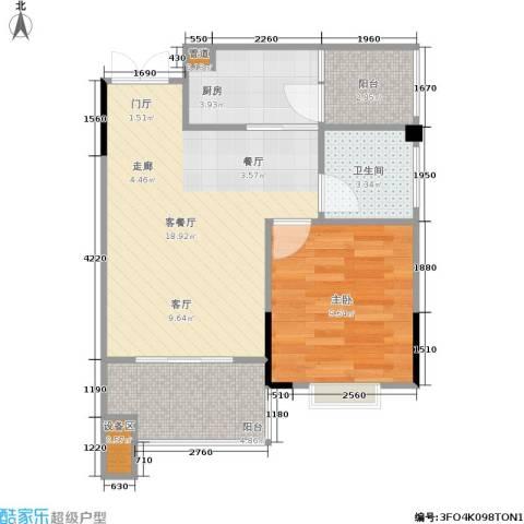 圣豪帝景1室1厅1卫1厨61.00㎡户型图