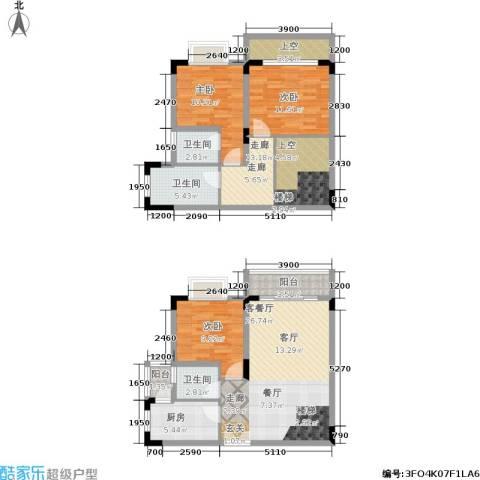 唐庄3室1厅3卫1厨98.00㎡户型图