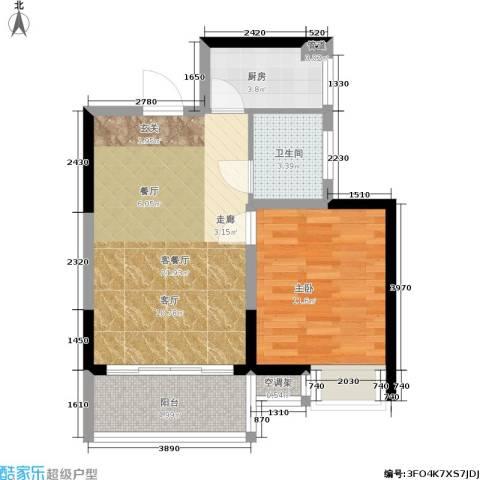 鸿运・凯旋国际1室1厅1卫1厨53.00㎡户型图