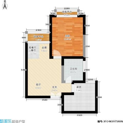 江南世家1室1厅1卫1厨62.00㎡户型图
