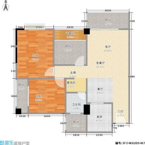 玫瑰馨苑2室1厅1卫1厨88.00㎡户型图