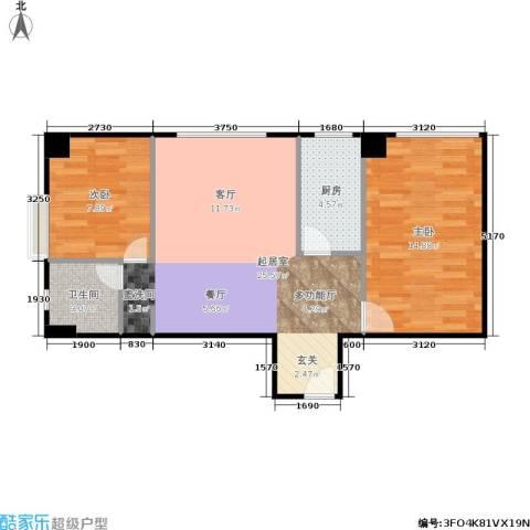 巴黎公舍2室0厅1卫1厨63.00㎡户型图
