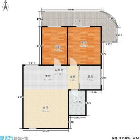 铭湖景园2期2室0厅1卫1厨98.00㎡户型图