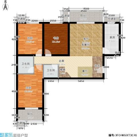金源花园3室1厅2卫1厨119.38㎡户型图