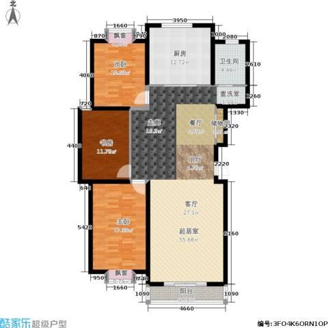 东湖山庄・碧云阁3室0厅1卫1厨119.24㎡户型图