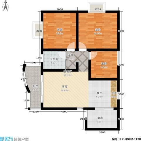 海德福苑3室1厅1卫1厨114.00㎡户型图